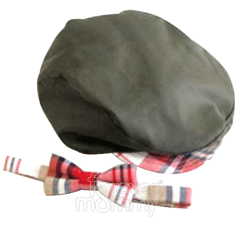 Cap & Bow-tie Set Brown Olive + Plaid