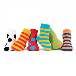 Trumpette Cheeritoes Assorted Socks 0-12 mos with six pairs of bright color on color socks (one sock stripe & one sock dot) in a gift box. Cotton rich soc..