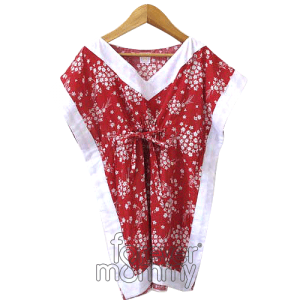 Caftan Dress Red Mini Flowers