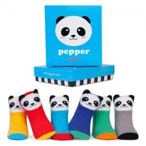 Trumpette Pepper Panda Assorted Socks 0-12 mos have six pairs of gender-neutral Pepper the Panda baby socks with 3D ears packaged in a bright turquoise gi..