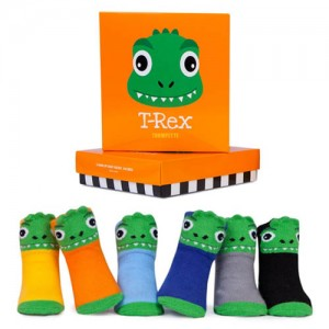 Trumpette T-rex Socks Assorted Socks 0-12 mos have six pairs of stylish 3D T-Rex baby socks packaged in a bright orange gift box. Cotton rich socks are.....